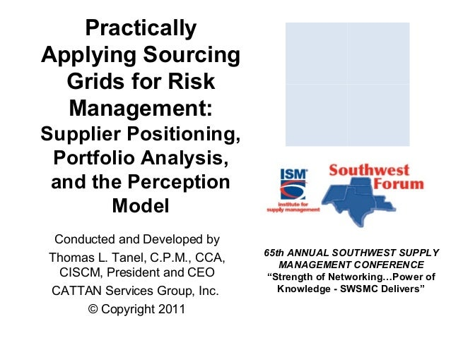 Practically Applying Sourcing Grids for Risk Management: Supplier Positioning, Portfolio Analysis, and the Perception Mode...