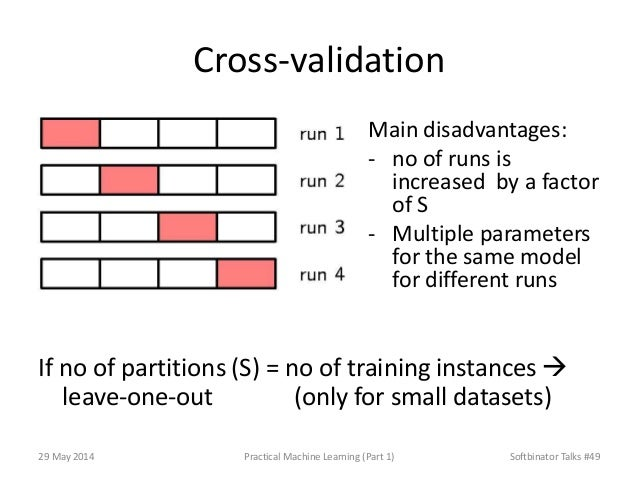 Cross-validation If no of partitions (S) = no of training instances  leave-one-out (only for small datasets) Main disadva...
