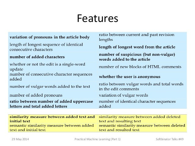 Features 29 May 2014 Practical Machine Learning (Part 1) Softbinator Talks #49