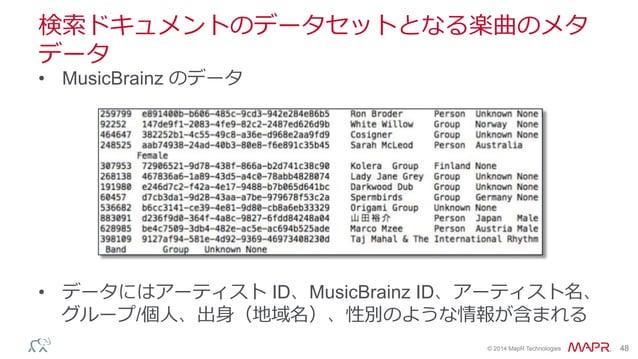 ® © 2014 MapR Technologies 48 検索索ドキュメントのデータセットとなる楽曲のメタ データ • MusicBrainz のデータ • データにはアーティスト ID、MusicBrainz ID、アーティスト名、 グ...