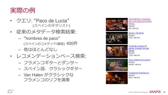 "® © 2014 MapR Technologies 62 実際の例例 • クエリ: ""Paco de Lucia"" (スペインのギタリスト) • 従来のメタデータ検索索結果: – ""hombres de paco"" (スペインのコメディ..."