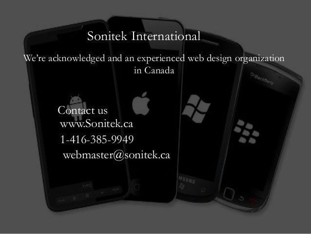 Sonitek InternationalWe're acknowledged and an experienced web design organizationin CanadaContact uswww.Sonitek.ca1-416-3...
