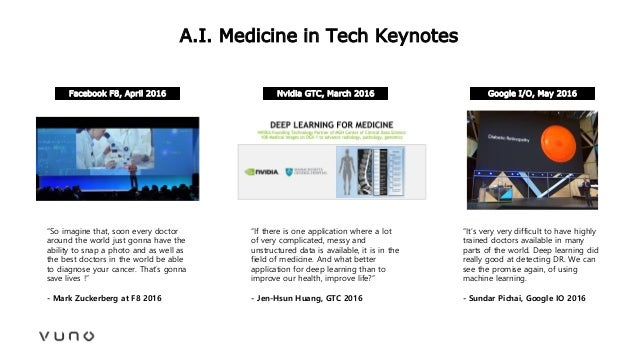 """A.I. Medicine in Tech Keynotes """"So imagine that, soon every doctor around the world just gonna have the ability to snap a ..."""
