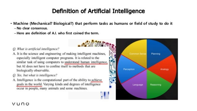 Definition of Artificial Intelligence • Machine (Mechanical? Biological?) that perform tasks as humans or field of study t...
