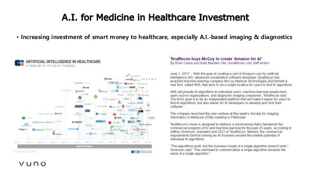 A.I. for Medicine in Healthcare Investment • Increasing investment of smart money to healthcare, especially A.I.-based ima...