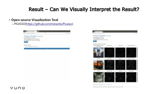 Result – Can We Visually Interpret the Result? • Open-source Visualization Tool –PICASSO(https://github.com/merantix/Picas...