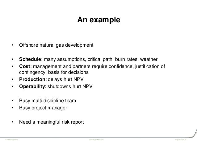 Practical project risk assessment, Simon White