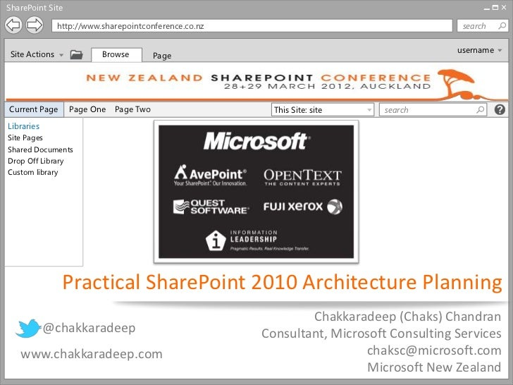 SharePoint Site                http://www.sharepointconference.co.nz                                     search           ...