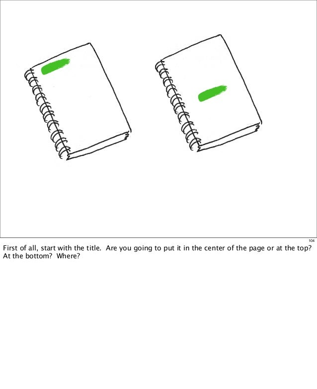 104  First of all, start with the title. Are you going to put it in the center of the page or at the top?  At the bottom...