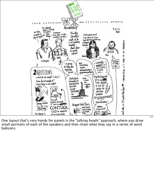 """110  One layout that's very handy for panels is the """"talking heads"""" approach, where you draw small portraits of each of th..."""