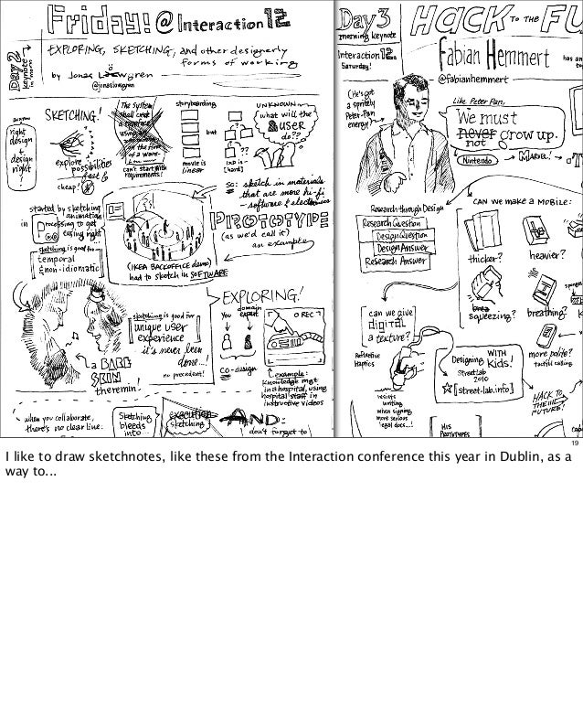 19  I like to draw sketchnotes, like these from the Interaction conference this year in Dublin, as a way to...