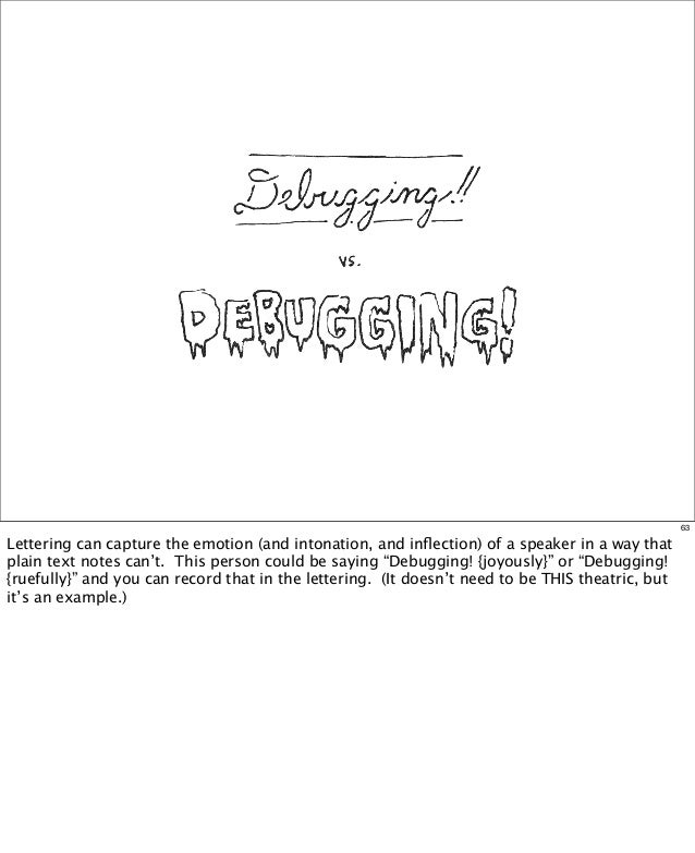 63  Lettering can capture the emotion (and intonation, and inflection) of a speaker in a way that plain text notes can't. T...