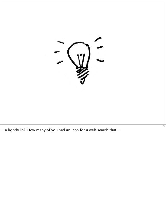 71  ...a lightbulb? How many of you had an icon for a web search that...