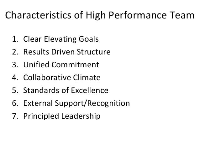 high-performance team essay High-performance teams do not occur in natural form they are created and properly managed it is important to build relationships, enhance commitment, and trust for better results (katzenbach and smith, 1993).