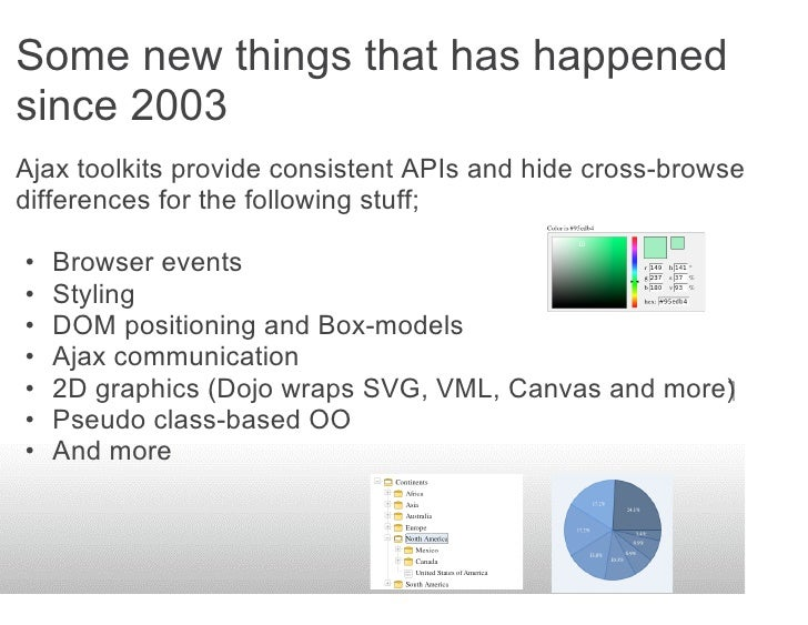 Some new things that has happened since 2003 Ajax toolkits provide consistent APIs and hide cross-browser differences for ...