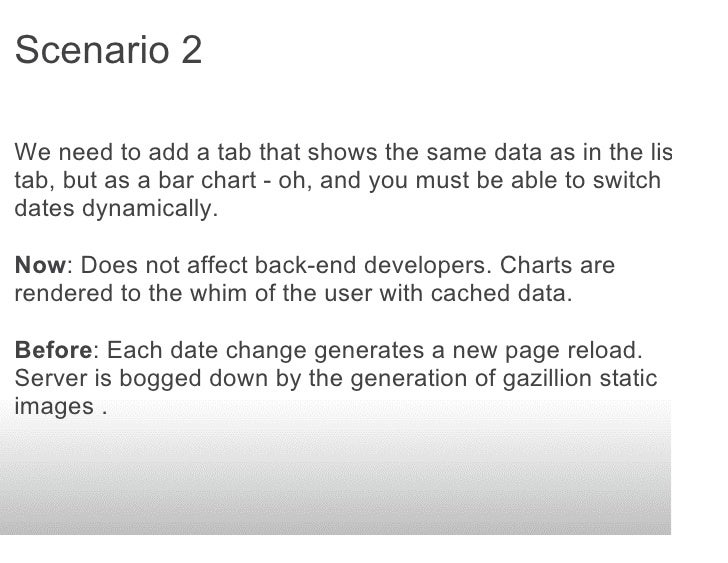 Scenario 2  We need to add a tab that shows the same data as in the list tab, but as a bar chart - oh, and you must be abl...