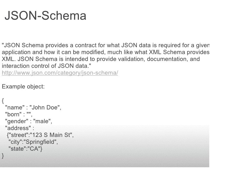 JSON-Schema  quot;JSON Schema provides a contract for what JSON data is required for a given application and how it can be...