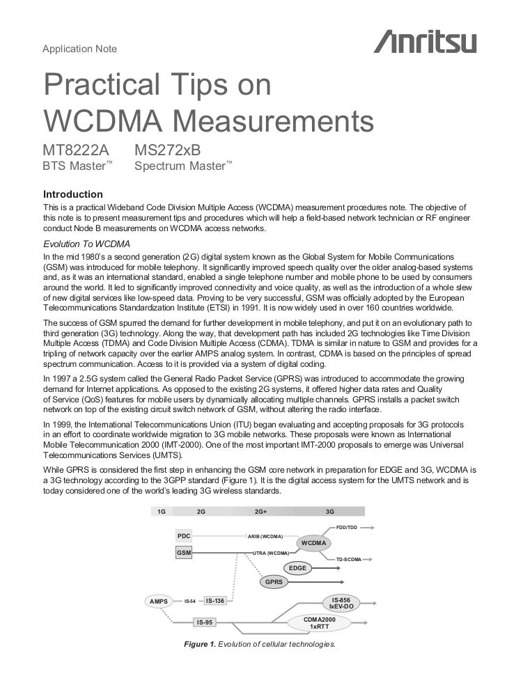 Application NotePractical Tips onWCDMA MeasurementsMT8222A                   MS272xBBTS Master        ™                   ...