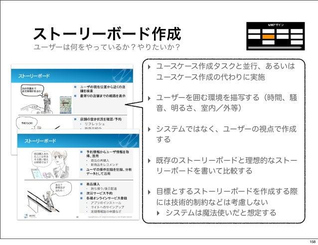 UXデザインストーリーボード作成ユーザーは何をやっているか?やりたいか?               ‣ ユースケース作成タスクと並行、あるいは                ユースケース作成の代わりに実施               ‣ ユー...