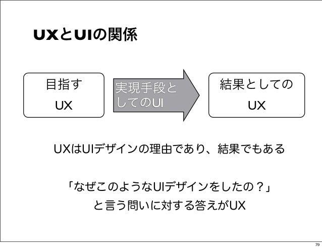 UXとUIの関係目指す     実現手段と    結果としての UX     してのUI          UX UXはUIデザインの理由であり、結果でもある  「なぜこのようなUIデザインをしたの?」      と言う問いに対する答えがUX ...