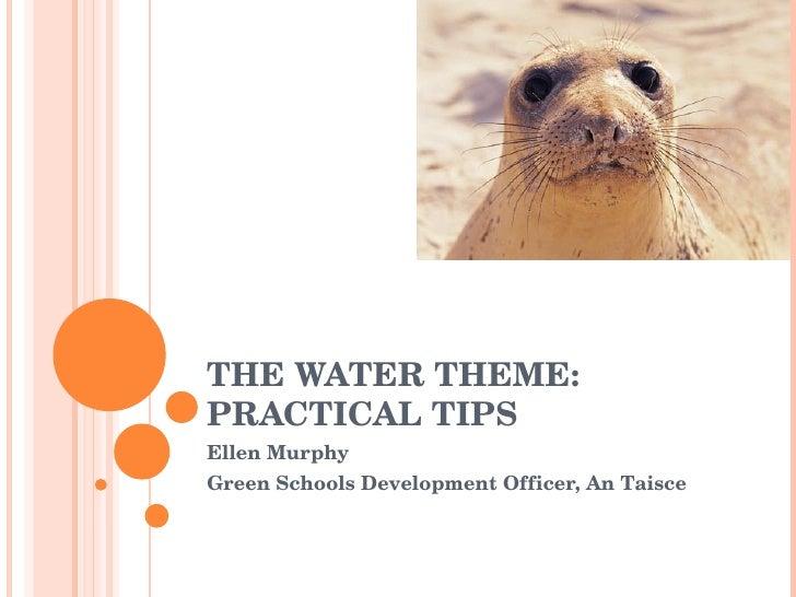 THE WATER THEME: PRACTICAL TIPS Ellen Murphy Green Schools Development Officer, An Taisce