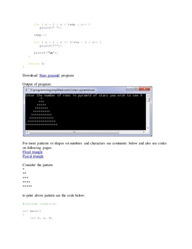 Write a program of pascal triangle in c