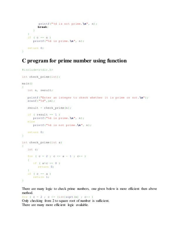 C Program to print prime numbers up to the inputted number