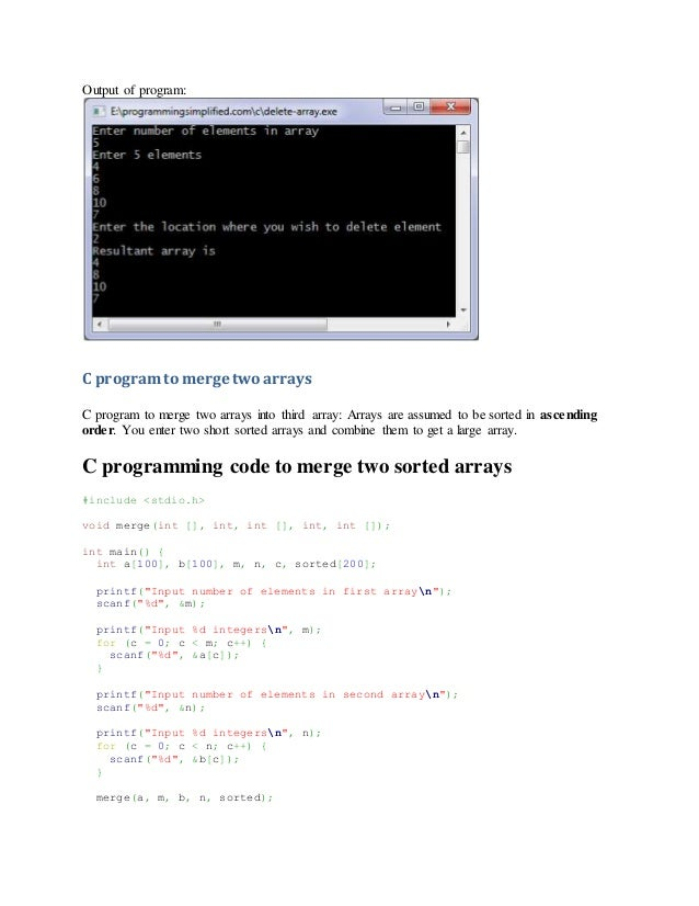 C program to merge two sorted arrays