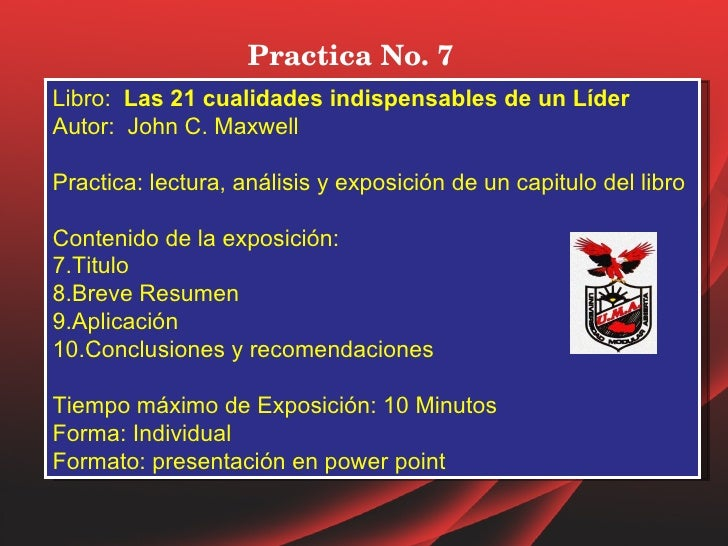 Practica no. 7 libro las 21 cualid lider