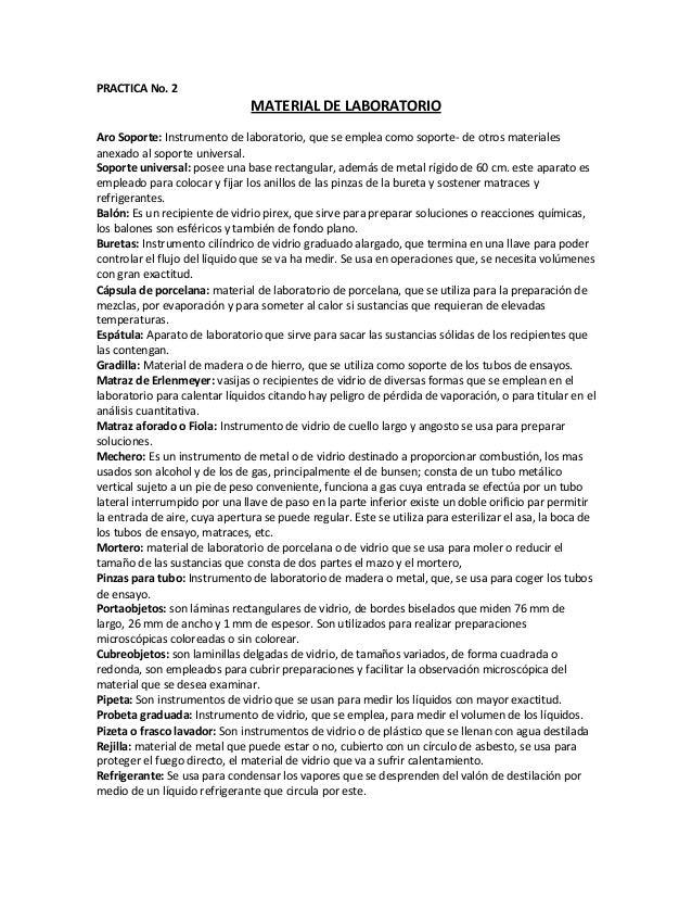 PRACTICA No. 2 MATERIAL DE LABORATORIO Aro Soporte: Instrumento de laboratorio, que se emplea como soporte- de otros mater...