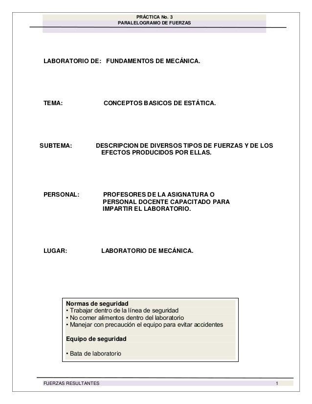 PRÁCTICA No. 3 PARALELOGRAMO DE FUERZAS FUERZAS RESULTANTES 1 LABORATORIO DE: FUNDAMENTOS DE MECÁNICA. TEMA: CONCEPTOS BAS...
