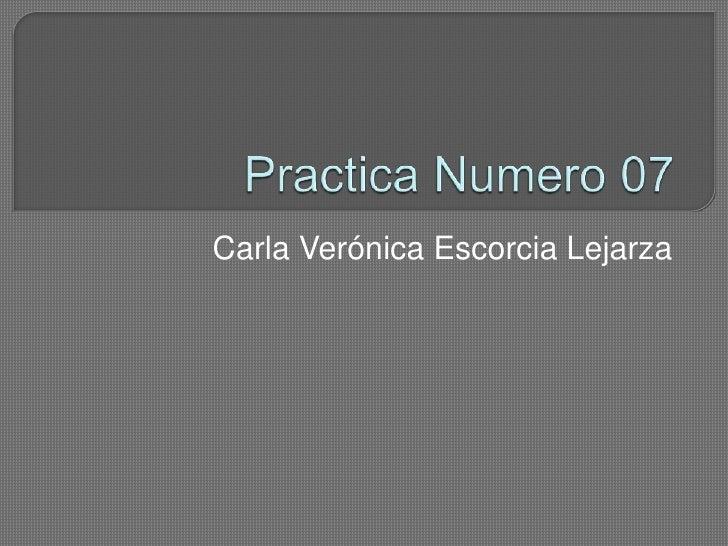 Practica Numero 07<br />Carla Verónica EscorciaLejarza<br />