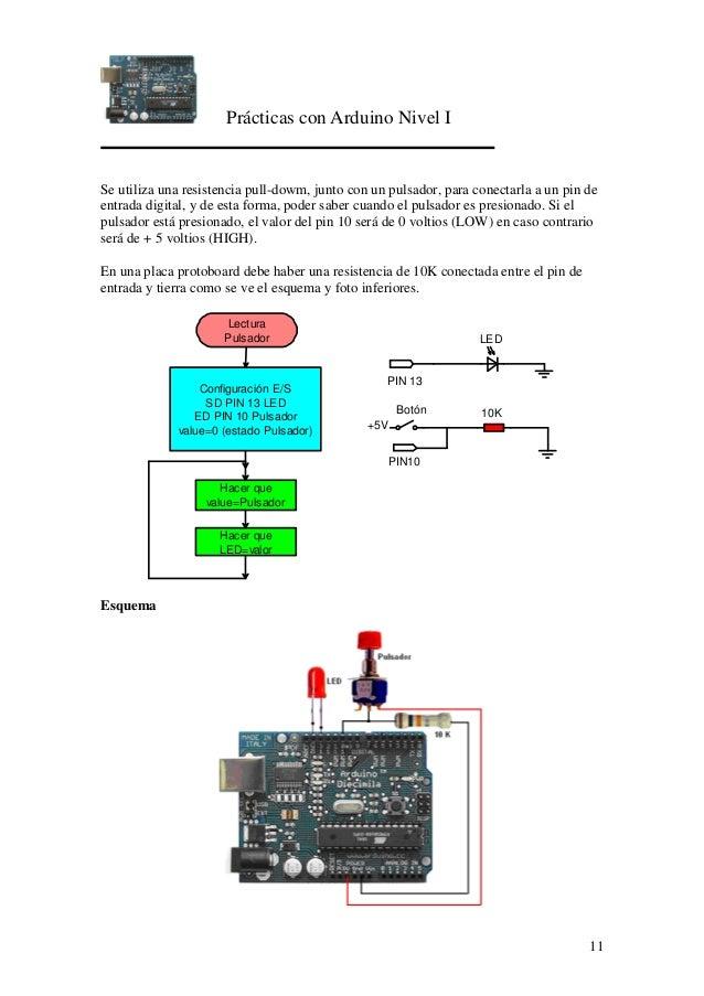 Prácticas con Arduino Nivel I 11 Se utiliza una resistencia pull-dowm, junto con un pulsador, para conectarla a un pin de ...