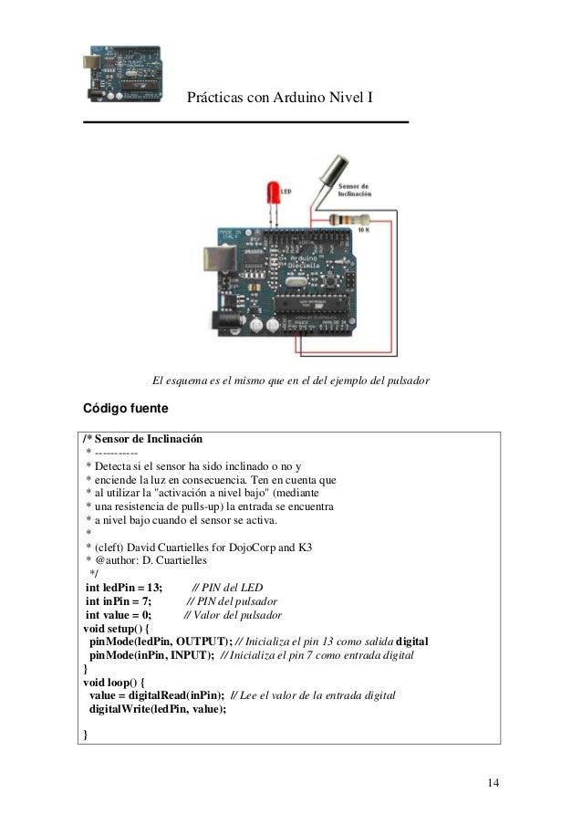 Prácticas con Arduino Nivel I 14 El esquema es el mismo que en el del ejemplo del pulsador Código fuente /* Sensor de Incl...