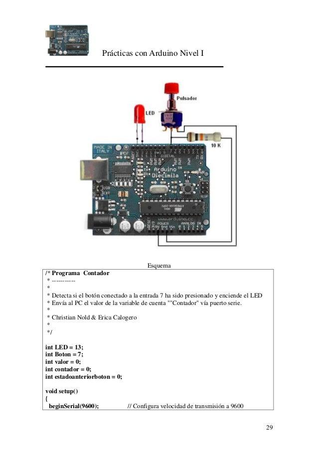 Prácticas con Arduino Nivel I 29 Esquema /* Programa Contador * ----------- * * Detecta si el botón conectado a la entrada...