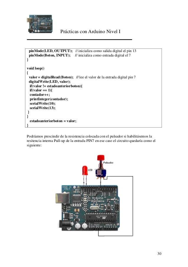 Prácticas con Arduino Nivel I 30 pinMode(LED, OUTPUT); // inicializa como salida digital el pin 13 pinMode(Boton, INPUT); ...