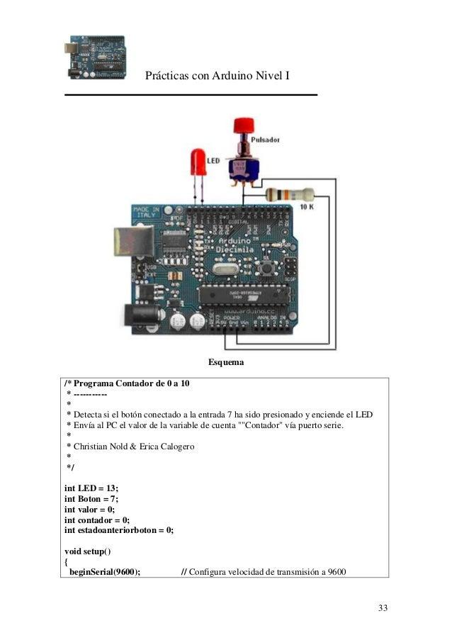 Prácticas con Arduino Nivel I 33 Esquema /* Programa Contador de 0 a 10 * ----------- * * Detecta si el botón conectado a ...