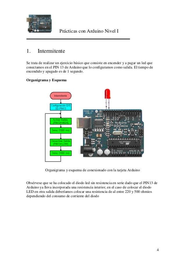 Prácticas con Arduino Nivel I 4 1. Intermitente Se trata de realizar un ejercicio básico que consiste en encender y a paga...
