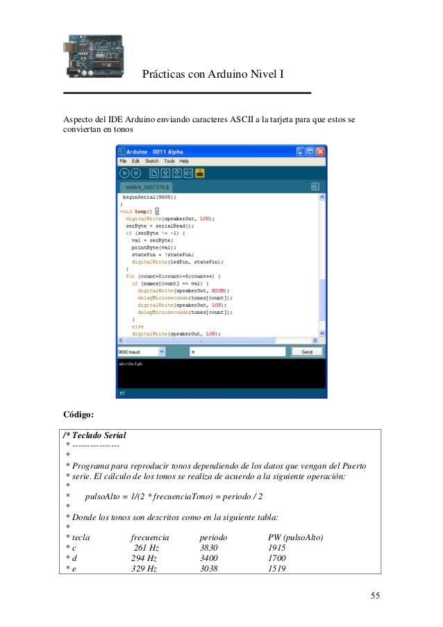 Prácticas con Arduino Nivel I 55 Aspecto del IDE Arduino enviando caracteres ASCII a la tarjeta para que estos se conviert...