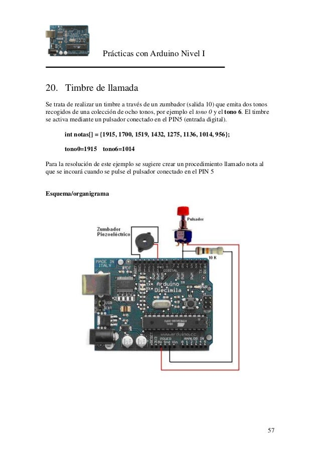 Prácticas con Arduino Nivel I 57 20. Timbre de llamada Se trata de realizar un timbre a través de un zumbador (salida 10) ...