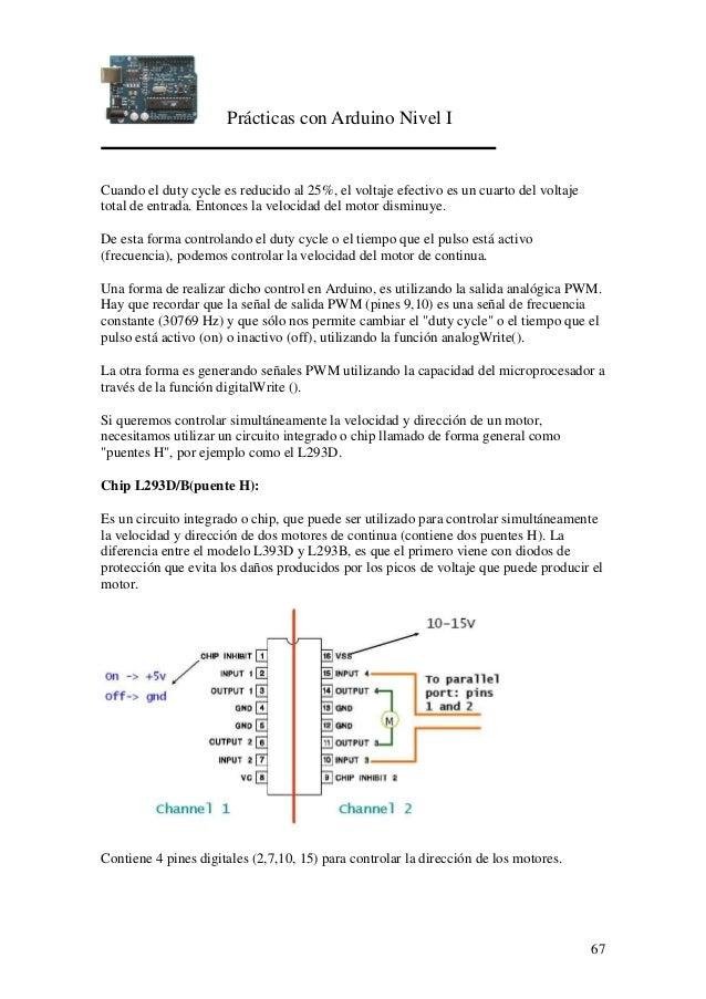 Prácticas con Arduino Nivel I 67 Cuando el duty cycle es reducido al 25%, el voltaje efectivo es un cuarto del voltaje tot...