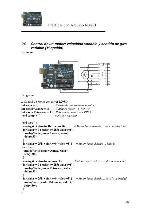Prácticas con Arduino Nivel I 69 24. Control de un motor: velocidad variable y sentido de giro variable (1ª opción) Esquem...