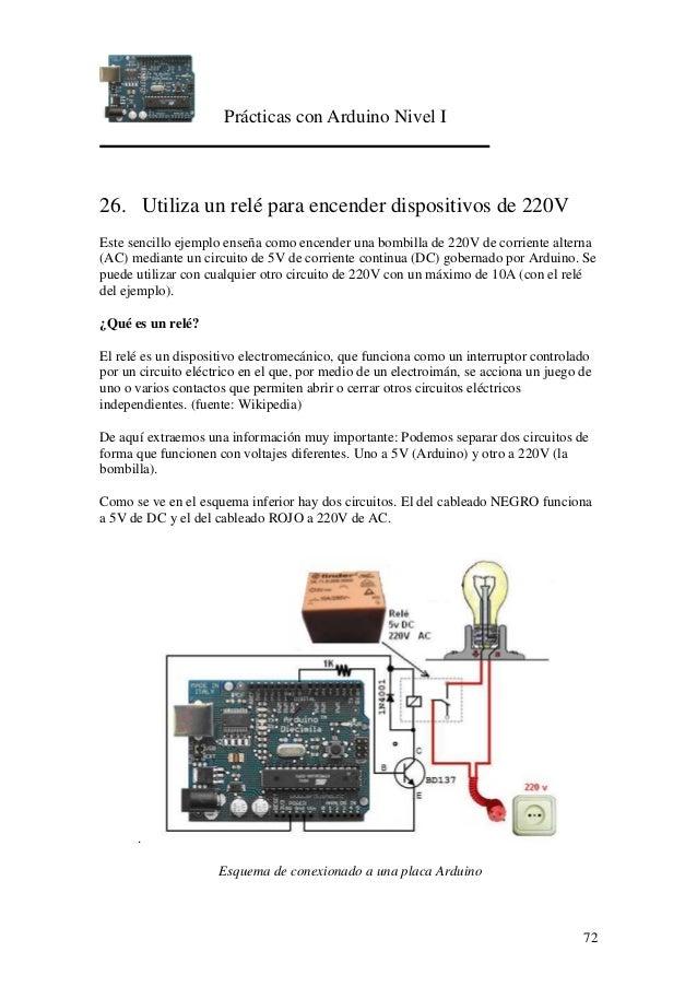 Prácticas con Arduino Nivel I 72 26. Utiliza un relé para encender dispositivos de 220V Este sencillo ejemplo enseña como ...