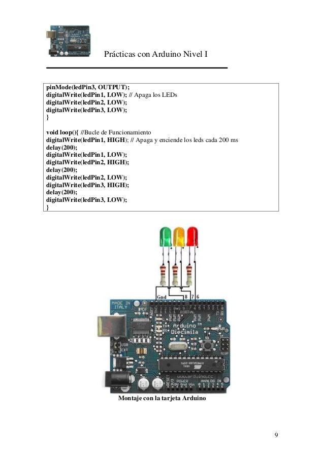 Prácticas con Arduino Nivel I 9 pinMode(ledPin3, OUTPUT); digitalWrite(ledPin1, LOW); // Apaga los LEDs digitalWrite(ledPi...
