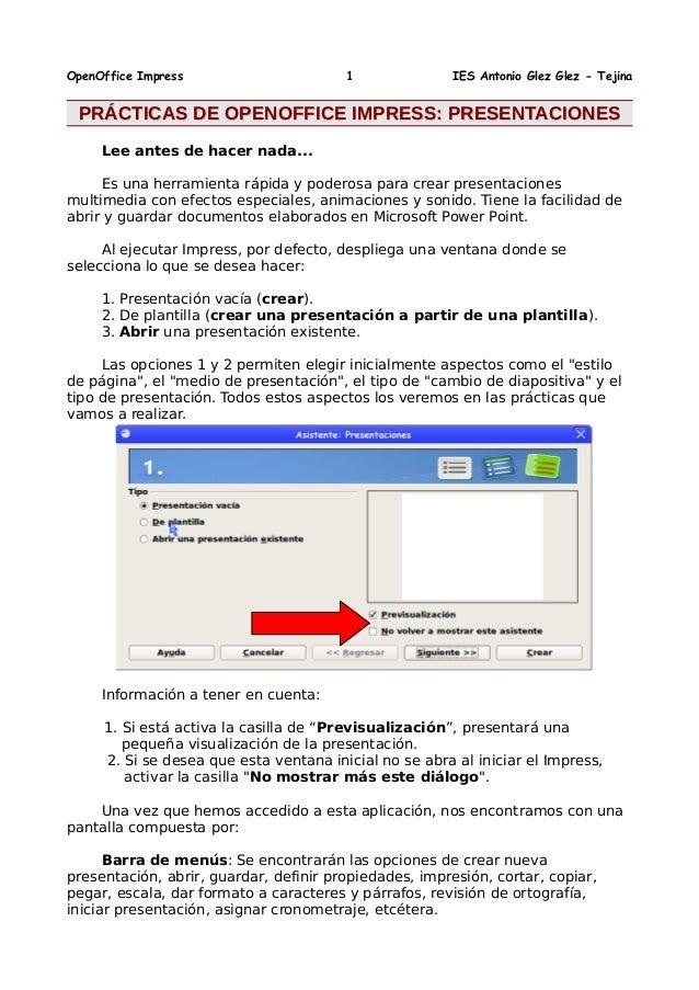 OpenOffice Impress 1 IES Antonio Glez Glez - Tejina PRÁCTICAS DE OPENOFFICE IMPRESS: PRESENTACIONESPRÁCTICAS DE OPENOFFICE...