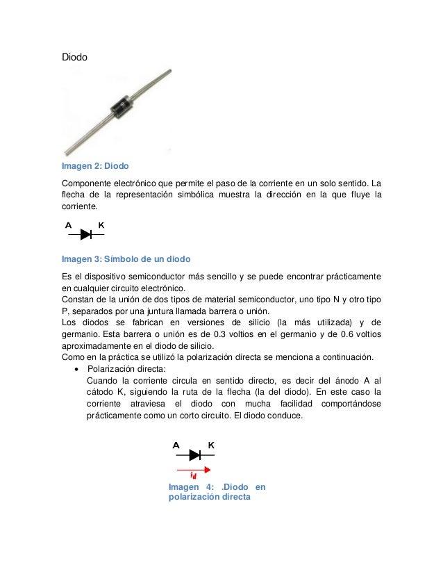 Diodo Imagen 2: Diodo Componente electrónico que permite el paso de la corriente en un solo sentido. La flecha de la repre...