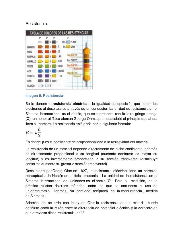 Resistencia Imagen 5: Resistencia Se le denomina resistencia eléctrica a la igualdad de oposición que tienen los electrone...