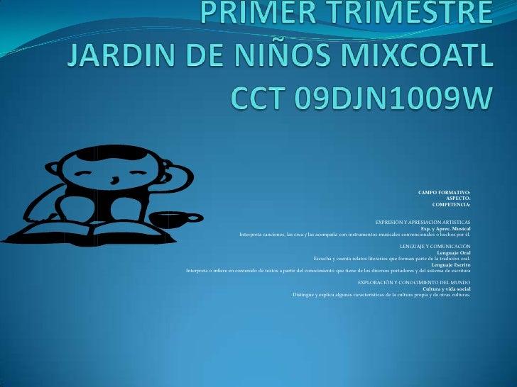 PRACTICAS EXITOSAS DEL PNLPRIMER TRIMESTREJARDIN DE NIÑOS MIXCOATLCCT 09DJN1009W<br /><br /> CAMPO FORMATIVO: <br />     ...