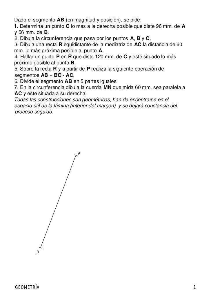 Dado el segmento AB (en magnitud y posición), se pide:1. Determina un punto C lo mas a la derecha posible que diste 96 mm....