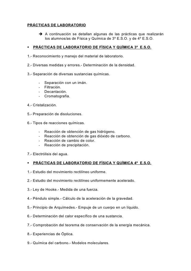 PRÁCTICAS DE LABORATORIO        A continuación se detallan algunas de las prácticas que realizarán         los alumnos/as...